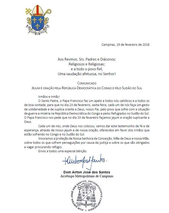 Carta Dom Airton