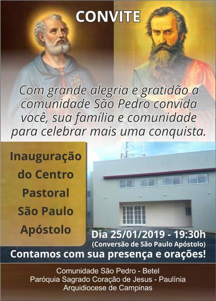 Inauguração Centro Pastoral São Paulo Apóstolo
