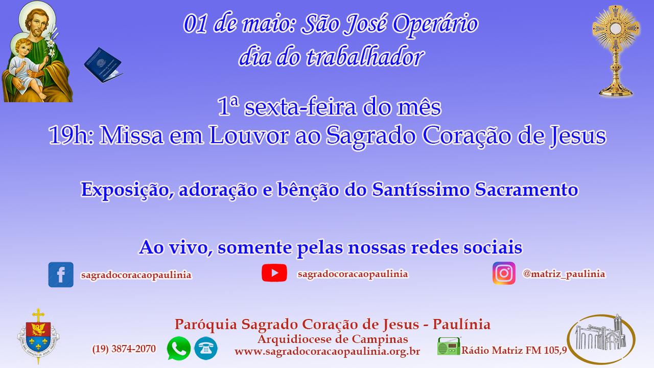 01 de Maio: dia de São José Operário