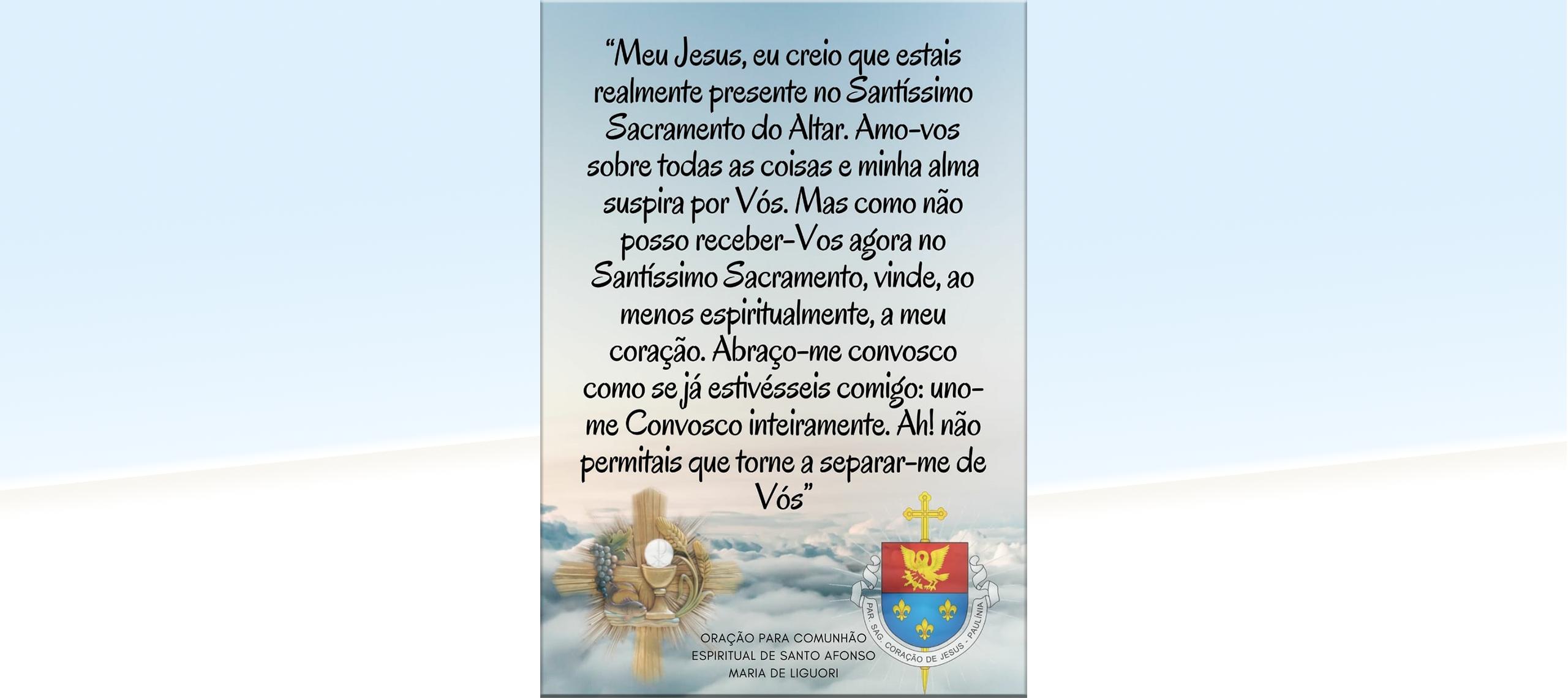 Oração de Santo Afonso para comunhão espiritual