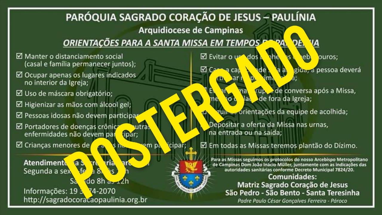 Orientações para a Santa Missa em Tempos de Pandemia