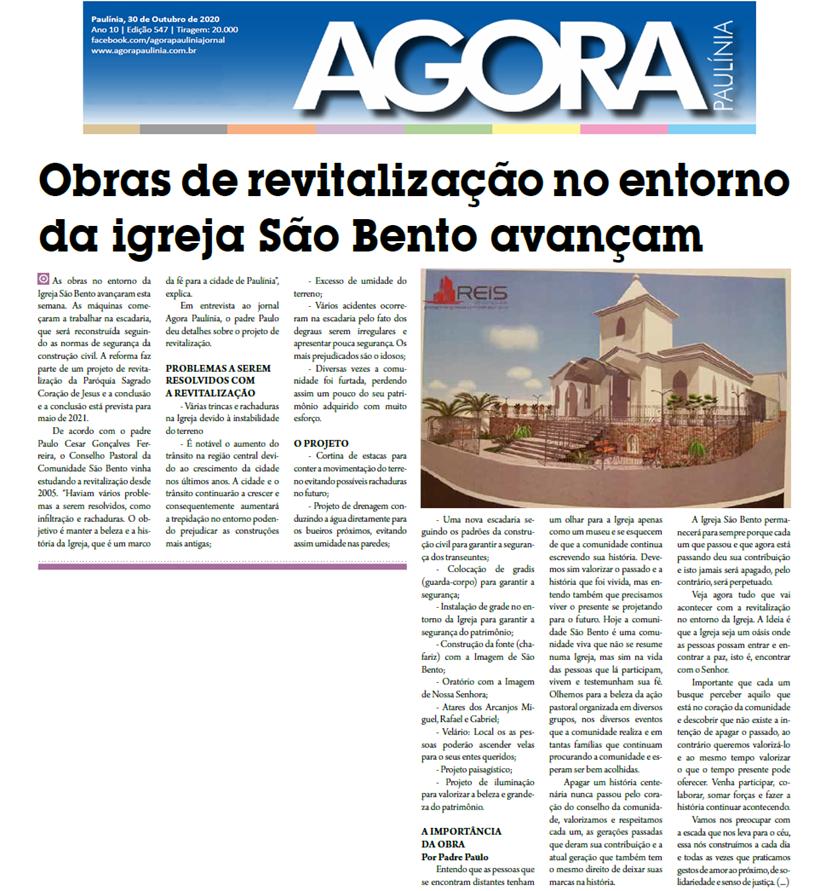 Comunidade São Bento: Revitalização no entorno - Jornal Agora Paulinia