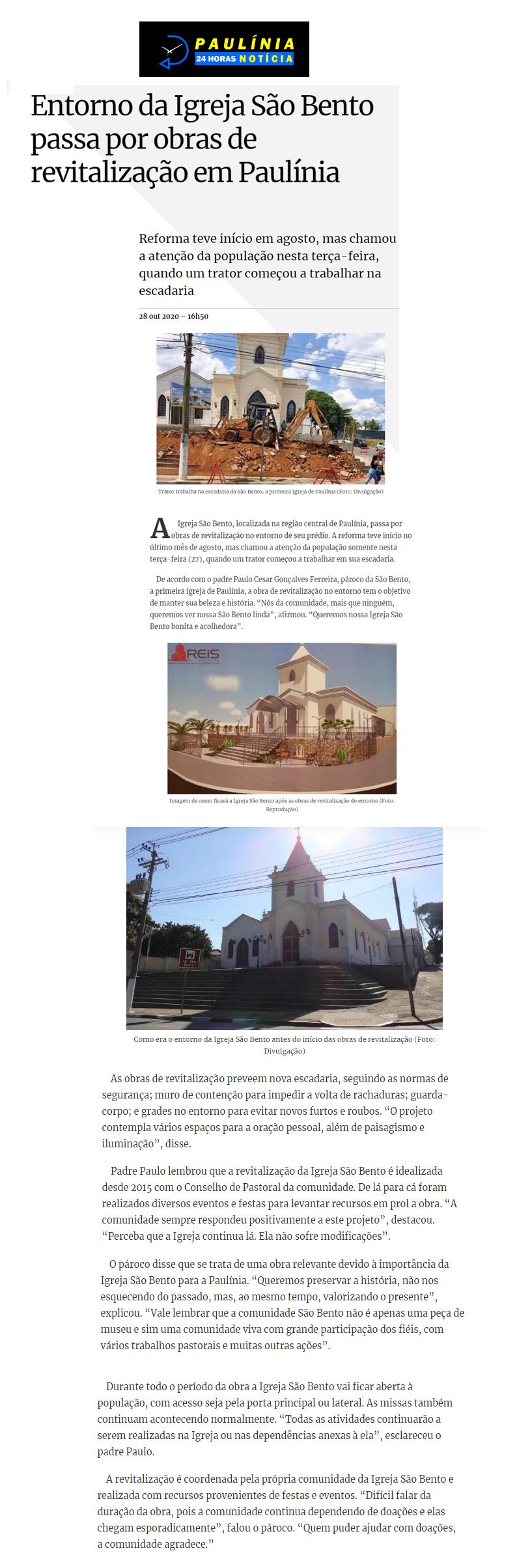 Comunidade São Bento: Revitalização no entorno - Jornal Paulínia 24 Horas