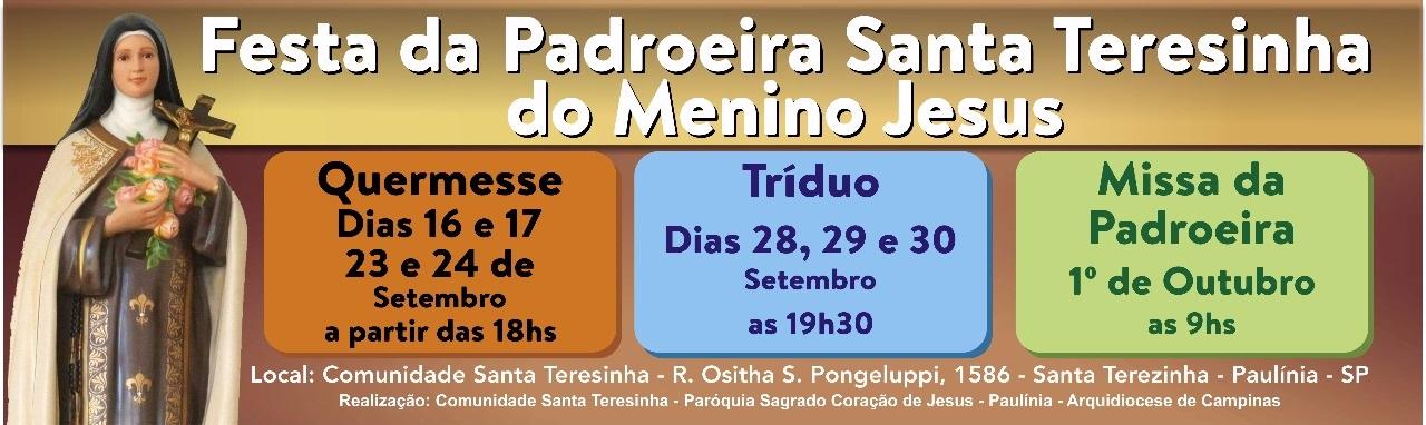 Confira a programação da festa da Padroeira Santa Teresinha