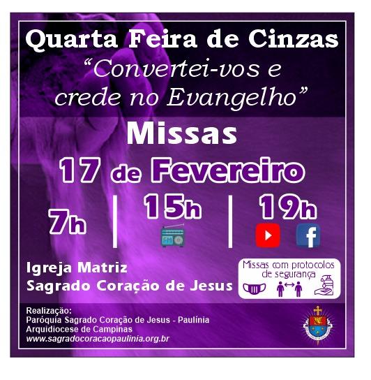 Horário das Missas na quarta-feira de cinzas